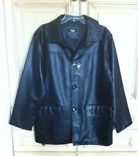 Flight/Bomber EA Collection Italy Style Black Faux Leather Jacket Size M