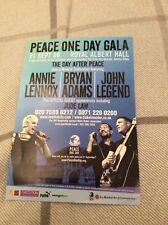 ANNIE LENNOX/ BRYAN ADAMS/ JOHN LEGEND- PEACE ONE DAY -2008- RARE CONCERT FLYER