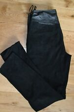 Reiss Britta Ladies Size 8 Leather & Suede Trousers in Black