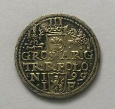 More details for poland sigismund iii vasa. silver coin, 1599, olkusz, 3 grossus
