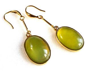 Women Apple Green Jade 5cm Long Hook Dangle Earrings 14K Yellow Gold Plated UK