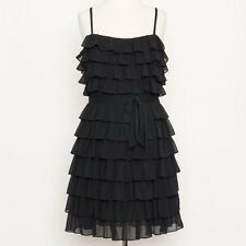 NWT $378 Juicy Couture Black Tiered Ruffle Spaghetti Strap After 5 Dress Size 10
