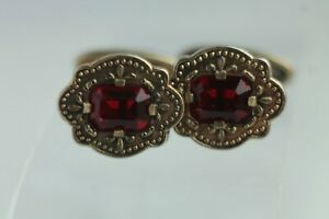 Vintage 1950s Cufflinks, silver with gold plating, ruby-red stones