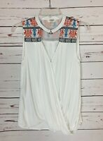 Umgee Boutique Women's S Small White Sleeveless Boho Spring Summer Top Blouse