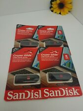 LOT OF 4 SanDisk 8GB Cruzer GLIDE USB Flash Pen Drive SDCZ60-008G-A46 (SEE PICS)