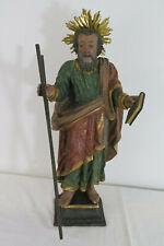 alte Heiligenfigur, Strahlenkranz, Hl. Andreas, Holz geschnitzt, 64 cm
