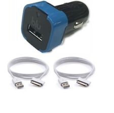 USB Car Charger + 2x 30Pin Data Sync Cable For iPod iPhone  1 2 3 3G 3GS 4 ipad