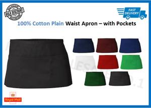 Premium Poly Cotton with Pockets Bistro Short Waist Half Apron Restaurant