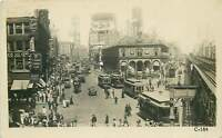 Herald Square New York City Real Photo Postcard Auto Trolley United Sattes