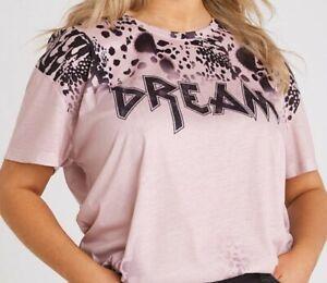 Religion Dream T-Shirt Pink Women's UK Size 20Animal Print