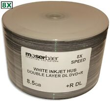 50-Pak MBI 8X White Inkjet Hub Printable 8.5GB Double Layer DL DVD+R's