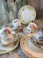6 place sets Vintage Mismatched Bone China Tea SetBoho Shabby Pink Green #40