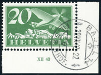 SCHWEIZ 1940, MiNr. 213 y, Bogenecke Druckdatum gestempelt, Mi. 50,-++