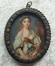 Miniatur Bildnis mit dem Portrait einer jungen Frau, Gouache, 19. Jahrhundert