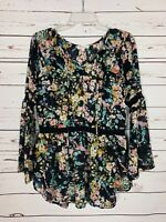 Crescent Stitch Fix Women's XS Extra Small Black Floral Fall Top Blouse Shirt