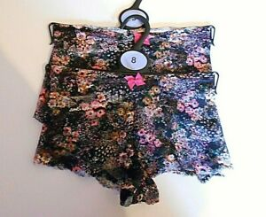 *M & S* 2pr Stretch LACE LOW RISE SHORTS / KNICKERS Size 8 BNWT FREE POST