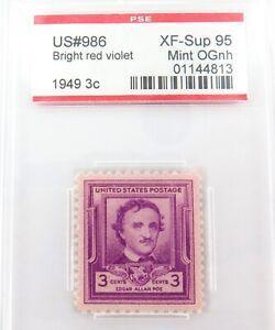 .US STAMP #986 1949 3c BRIGHT RED VIOLET PSE GRADED XF-SUP 95 MINT OGnh