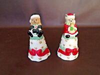 Pair Of Ceramic Christmas Bells Dog & Cat Figures (Cat.#7T030)