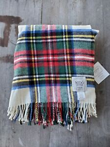 Nido Notte Italy Cotton Blend Throw - White Tartan Plaid - Made in Italy - New