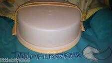 """VINTAGE TUPPERWARE GOLD 9"""" PIE CAKE TAKER KEEPER # 719 SHEER LID # 720 HANDLE"""