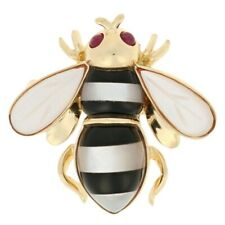 Mother of Pearl, Onyx, & Ruby Bumblebee Brooch/Pendant 14k Gold Cabochon .10ctw