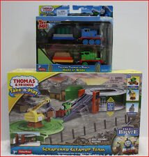 LOT 2- Thomas Take Play PERCY SCRAPYARD Clean-Up + 2 TALKING Trains Lights Sound