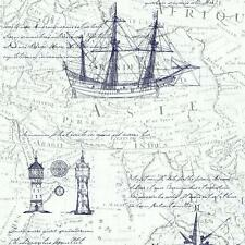 vintage mapa atlas estampado Old Naútico Papel pintado textura no tejida