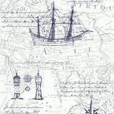 VINTAGE ATLAS MAP PATTERN OLD NAUTICAL NON WOVEN TEXTURED WALLPAPER BLUE WHITE