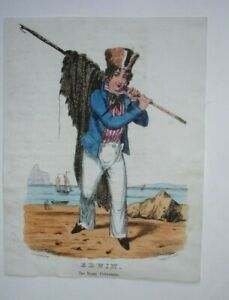 19th century hand coloured print EDWIN the Young Fisherman - C Ingrey 310 Strand