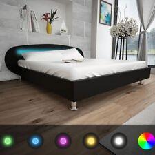 vidaXL Cama Doble LED Cuero Artificial con Colchón Negro/Blanco Varias Medidas