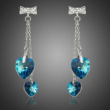 Platinum Plated Double Heart of Ocean Made With Swarovski Crystal Drop Earrings