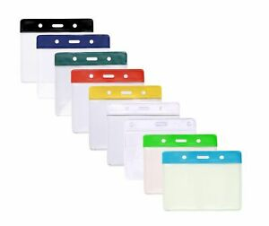 Flexible Plastic ID Card Badge Holder Pocket - 7 Colours Available Free P&P