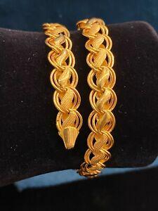 Classy Dubai Handmade Unisex Lotus Chain Tennis Bracelet In 916 Stamped 22K Gold