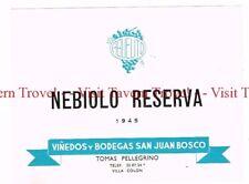 Unused 1940s URUGUAY Villa Colon San Juan Bosco Tomas Pellegrino Nebiolo Reserva