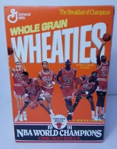 Chicago Bulls 1990-91 NBA Champions Wheaties Box Opened(No Cereal)