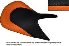 BLACK & ORANGE CUSTOM FITS KTM 690 DUKE 12-15 LOW FRONT LEATHER SEAT COVER