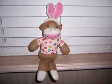 "12"" Dan Dee Collector's Choice Sock Monkey Easter Ears Floral Shirt"
