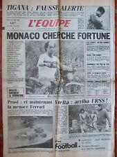 L'Equipe du 23/4/1985 - Foot : Monaco - Vuelta, arrivée des Russes - Prost