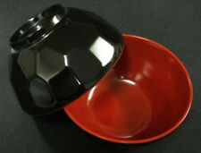 12x Black/Red Plastic Rice Miso Soup Bowls 4.75in #920-BR S-2373x12
