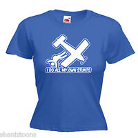Skydive Own Stunts Funny Ladies Lady Fit T Shirt 13 Colours Size 6 - 16