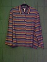 SAG HARBOR Shirt Jacket Button Front Long Sleeve Size Large Colorful