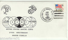 A LOVELY COVER FROM THE USA. 1991 216th ANNIVERSARY OF THE USMC, USS GUADALCANAL