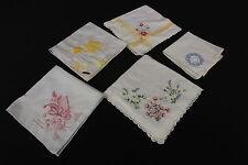 Vintage Ladies' Hankies Handkerchiefs Embroidered & Appliquéd White W/ Pastels