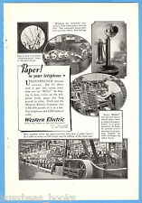 1923 WESTERN ELECTRIC advertisement, paper used in candlestick telephone making