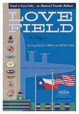 """JA024 DAL DALLAS LOVE FIELD AIRPORT POSTER 14"""" X 20"""" BY ARTIST CHRIS BIDLACK"""