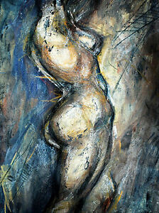 A0 canvas print original naked woman abstract  painting wall decor Art nude