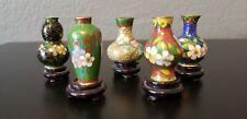 5 Vtg Cloisonne Mini Vases With Wood Stands