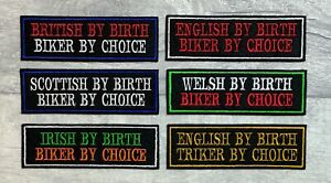 NATIONALITY BIKER ENGLAND - WELSH - SCOTTISH - IRISH - BRITISH EMBROIDERED PATCH
