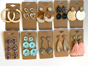 Wholesale Lot of 10 Pairs of Statement Earrings Rhinestone  New #257