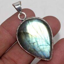 """Fiery Labradorite 925 Sterling Silver Plated Pendant 2"""" Jewelry GW"""